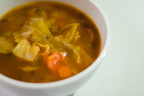 cabbage soup with white beans and sausage (by bookgrl)