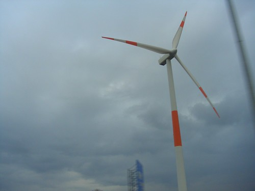 On our way home, we saw lots of orange windmills