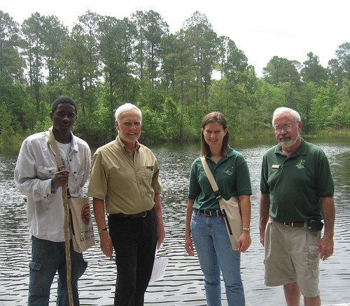 Fabrice Tchouba, VISTA volunteer from Cameroon; Bill Bryan; Aimee Robert, Office of State Parks; and John Witherington, Lake DArbonne State Park.