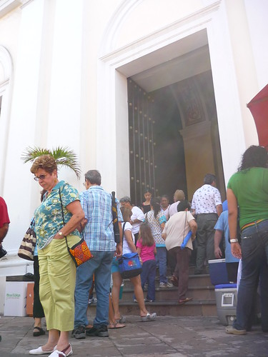Queuing to enter the cathedral