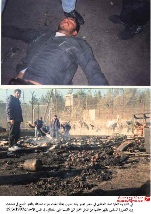 استنفار - في الصورة العليا أحد الأسرى في سجن مجدو وقد أغمي عليه من الغاز المسيل للدموع وفي السفلى قنابل الغاز والخيم محروقة