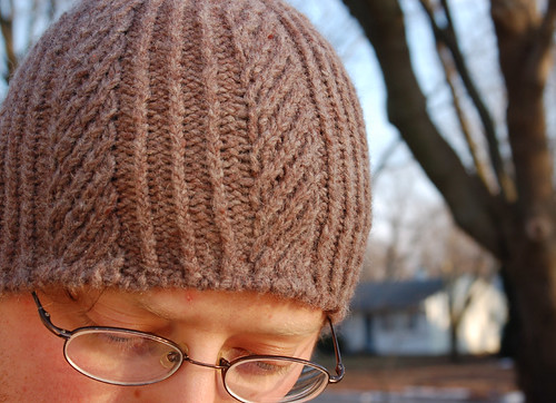 wool hat in herringbone rib stitch-1