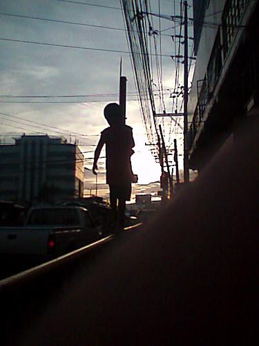 on the railing