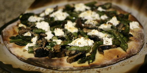 Roasted Asparagus and Portabella with Chèvre Pizza