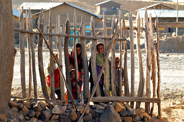 Ethiopian children stare at me, again