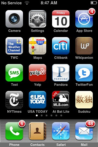 Whats On My iPhone (you can take a picture of your iPhone screen by holding home and power buttons)