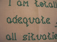I am totally adequate for all situations (detail), cross stitch, 2009