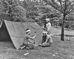 Kids at Camp Long, 1954 (Seattle Municipal Archives) Tags: seattle camping kids children tents 1950s westseattle camplong seattlemunicipalarchives