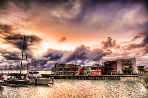 sea orange house beach water clouds boats eos 350d evening pier 24105mmf4l ship purple dusk glenelg hdr enoch yong photomatix