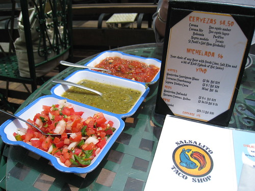 Salsas at the Salsalito Taco Shop