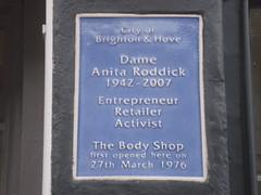Dame Anita Roddick plaque