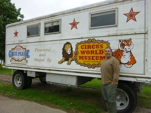 WI, Baraboo - Circus World Museum 106 - Dave with Circus Wagon