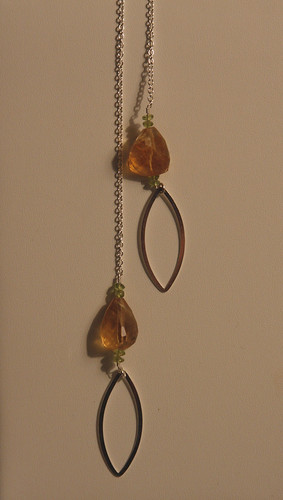 Citrine, Peridot and Oval Lariat