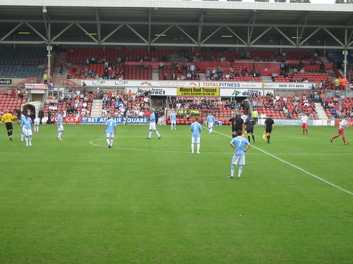 City prepare to begin the game in front of the Yale Stand
