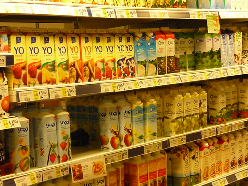 Part of the extensive dairy section in a Swedish supermarket