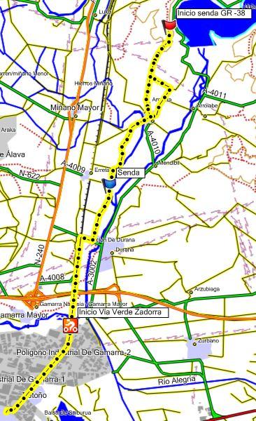 Mapa de la ruta vistas al embalse de Ullibarri-Gamboa