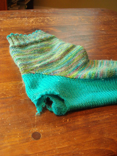 large hole in handknit sock