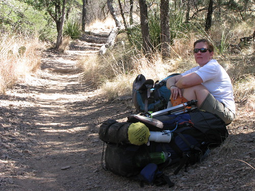 Tabitha rests on the Pinnacles Trail near Juniper Flats