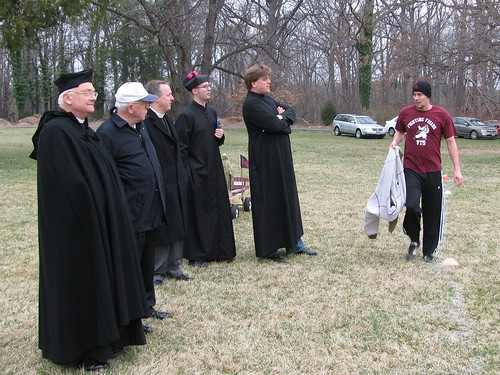 Playful faith...Seminarians dressed up to watch a VTS soccer game.