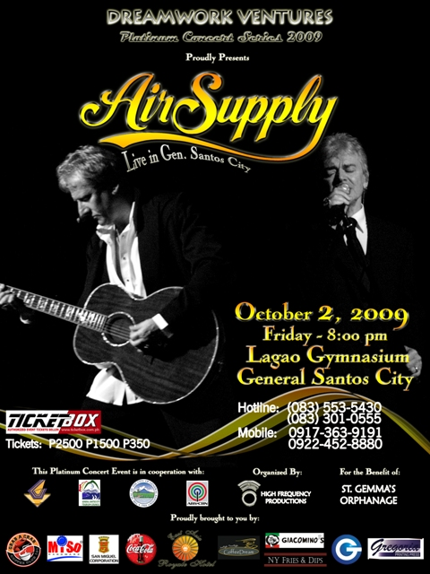 The Air Supply in General SAntos City Concert Poster