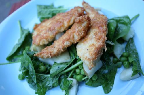 Parmesan chicken and potato salad