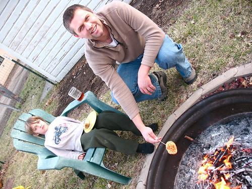roasting a pancake
