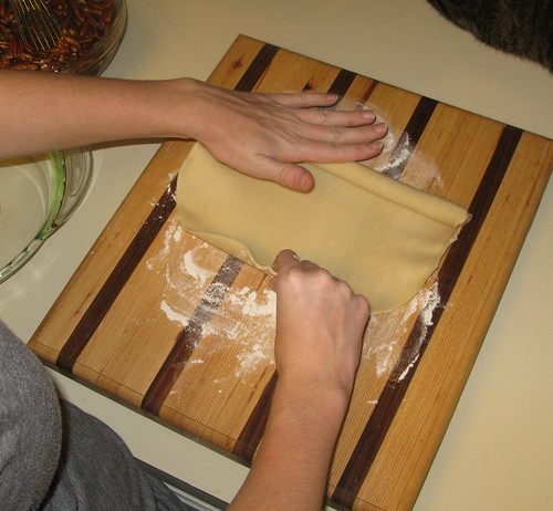 Rolling out pastry shell--make sure and flour both sides.