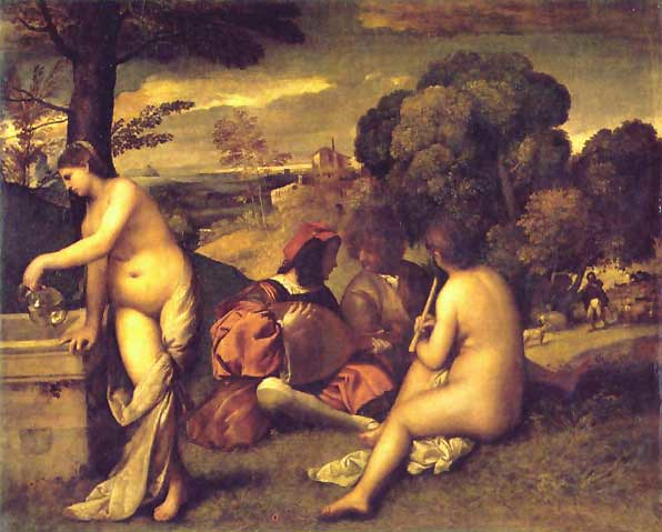Fiesta campestre (Fete Champetre) (1508) by Giorgione or Titian