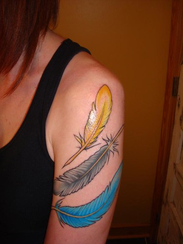 Feather Tattoo- Colored! by haloform