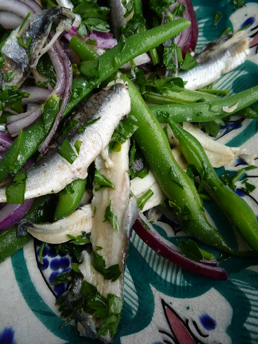 Marinated Anchovy , Green Bean and Red Onion Salad by you.