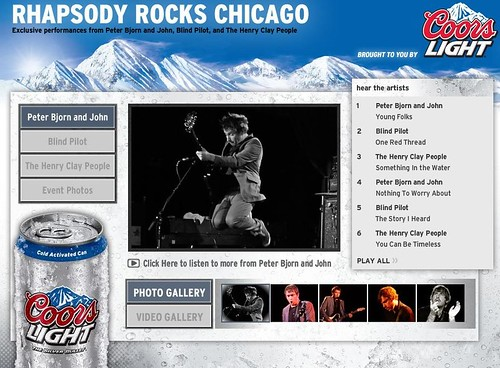 Screenshot of Rhapsody Rocks website with the three bands videoed by Resource Group recently