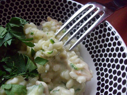 Risotto courgettes, parmesan et dinde / Zucchini, parmesan and turkey risotto
