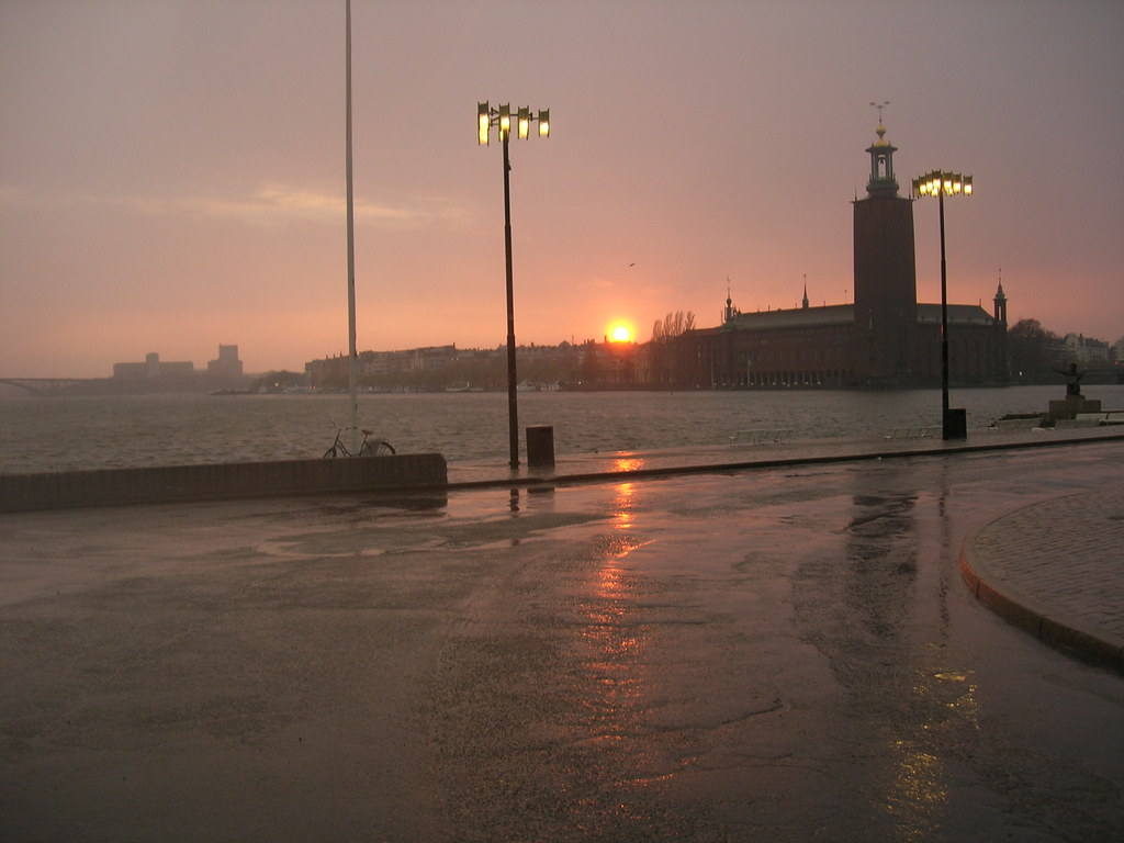 Sunset in the rain over Stockholm City Hall - 2