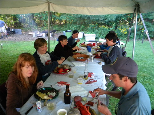 Chowing down! Corn on the Cob, Steamers (clams), kielbasa, and of course lobsta!