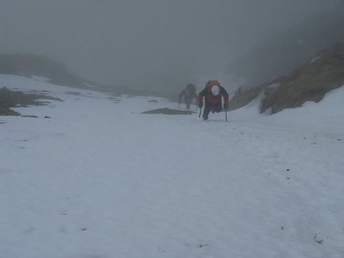 The author and Nobz on better snow high in Parsley Fern Gully