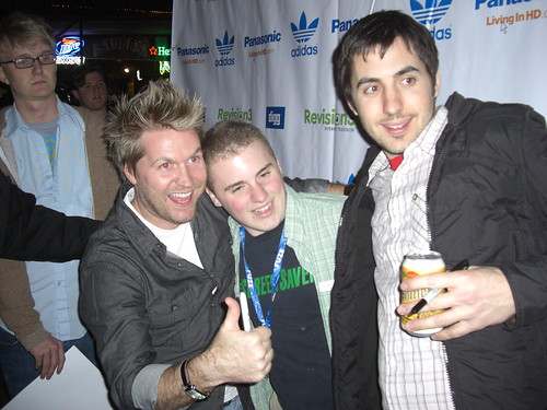 Alex Albrecht, some dude and Kevin Rose - Live Diggnation Austin