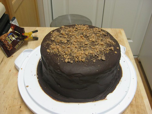 Finished cake with PB Ganache Glaze and Toffee bits