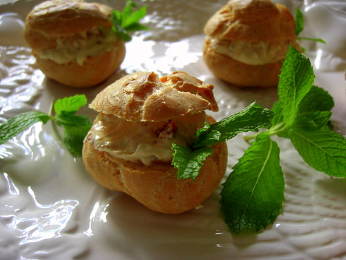 Goat cheese profitroles