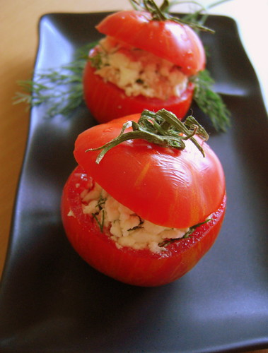 Tomatoes stuffed with feta