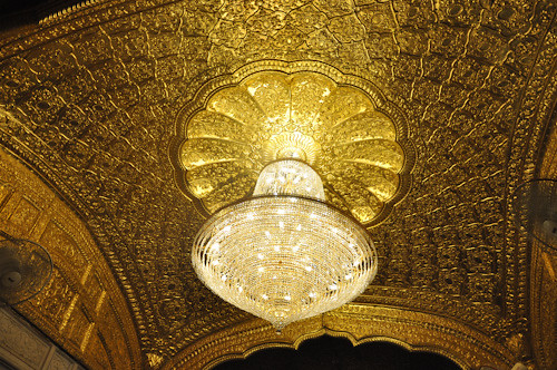 Entrance Chandelier on golden ceiling
