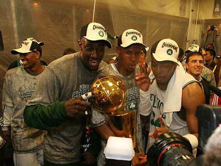 Bostons Big 3 after humiliating the Lakers in last years title clincher.