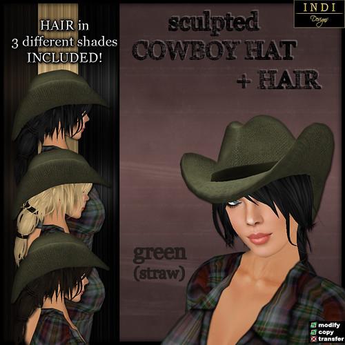 Cowboy Hat green straw