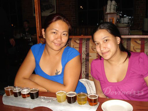 Nai and I with the beer Sampler