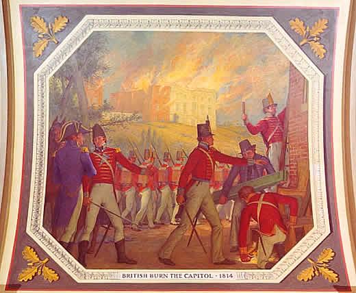 British Burn the U.S. Capitol, 1814, General Ross and Admiral Cockburn at Left