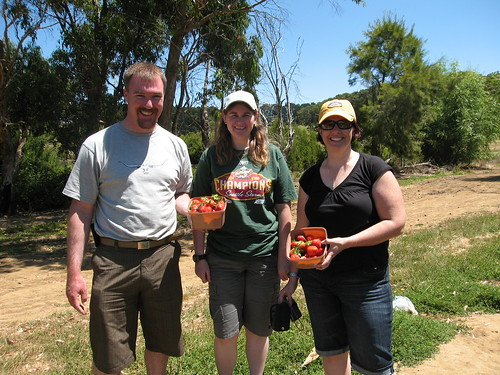 Max, Me and Susan with our strawberry haul