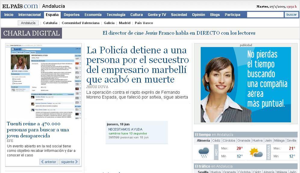 Captura de el diario El Pais con inserción de contador de Tuenti