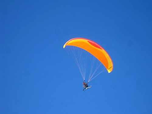 Perfect weather for paragliding on skis