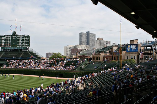 The Chicago skyline, and Wrigley Field, from the vantage of our seats.