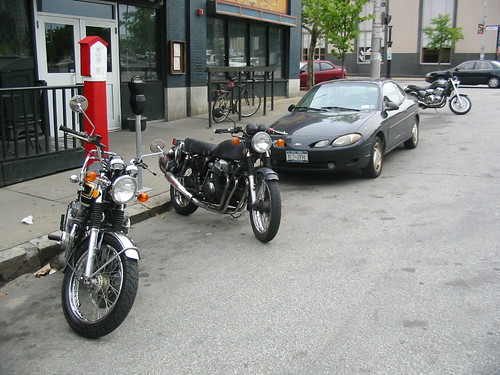 My CB750, Seans and Tommys Triumph Thunderbird...theres also come four-wheeled thing, I think they call it a car
