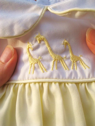 Embroidered giraffes.
